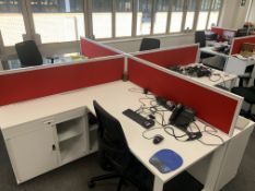 BANK OF 4 MODERN STYLE METAL OFFICE DESKS WITH LOCKABLE STORAGE CUPBOARD AND DRAW WITH 4 OFFICE