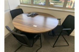 ROUND WALNUT EFFECT TABLE WITH 3 CHAIRS