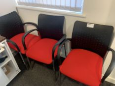 3 X RED AND BLACK BOARDROOM CHAIRS