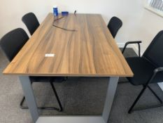 4 SEATER WALNUT EFFECT OFFICE TABLE WITH CHAIRS