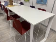 TALL BREAKFAST BAR TABLE WITH 6 STOOLS