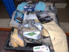 63 PIECE CLEANING AND POLISHING LOT INCLUDING CHAMOIS, DASH BRIGHT, POLISHING CLOTH, ETC