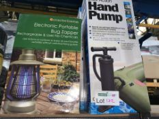 2 X DUAL ACTION HAND PUMPS AND 1 X ELECTRONICAL PORTABLE BUG ZAPPER