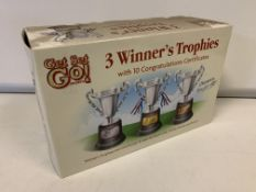 23 X BRAND NEW SETS OF 3 WINNERS TROPHIES WITH CERTIFICATES
