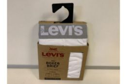 30 X BRAND NEW LEVIS 2 PACK MENS BOXERS WHITE SIZE XL