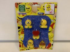 144 X BRAND NEW ASSORTED EMOJI STAMPS PACKS OF 5