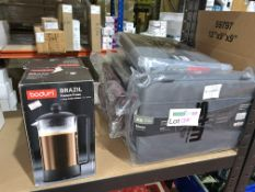 2 X BODUM FRENCH PRESS COFFEE CUP MAKERS AND 7 X BLAZER LAPTOP SLEEVES
