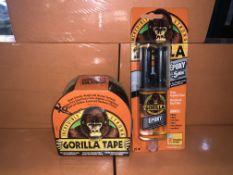 8 X BRAND NEW GORILLA TAPE AND 9 X GORILLA EPOXY STRUCTURAL GAP FILLER