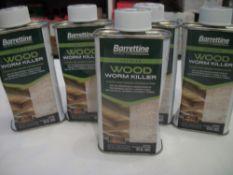 5 x Barrettine Premier Wood Worm Killer 250ml slightly dented