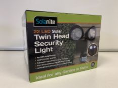 12 X BRAND NEW BOXED SOLANITE 22 LED SOLAR TWIN HEAD SECURITY LIGHTS (SENSOR ACTIVATED)