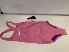 (NO VAT) 9 X BRAND NEW CHILDRENS NIKE 2 PINK SWIMSUITS SIZE MEDIUM