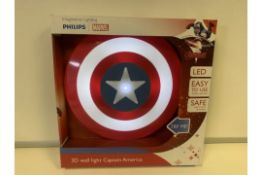 6 x NEW BOXED PHILIPS MARVEL CAPTAIN AMERICA 3D LED WALL LIGHTS. RRP £30 EACH