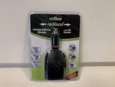 64 X BRAND NEW ROCKLAND DOUBLE USB CAR CHARGERS WITH DC SOCKETS