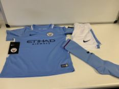 (NO VAT) 8 X BRAND NEW NIKE MAN CITY FULL KIT BOYS SIZE XS