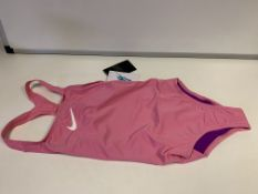 (NO VAT) 10 X BRAND NEW CHILDRENS NIKE 2 PINK SWIMSUITS SIZE MEDIUM