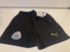 (NO VAT) 11 X BRAND NEW NEWCASTLE UNITED CHILDRENS PUMA BLACK SHORTS SIZE 7-8