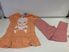 (NO VAT) 15 X BRAND NEW EDGE CHILDRENS CORAL AND PINK TOP AND LEGGINGS SETS SIZE 7-8