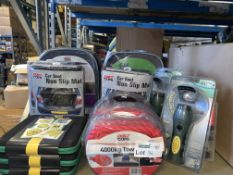 MIXED LOT INCLUDING TOW ROPES, NON SLIP MATS, TORCHES, ETC