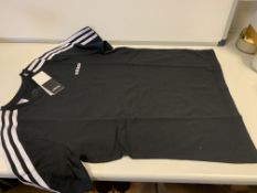 (NO VAT) 8 X BRAND NEW CHILDRENS ADIDAS BLACK T SHIRTS SIZE 13-14