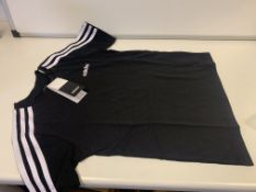 (NO VAT) 7 X BRAND NEW CHILDRENS BLACK ADIDAS T SHIRTS SIZE 9-10