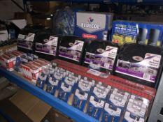 MIXED LOT INCLUDING BLUECOL BULBS, MOONRAKER DTV-1000, SMALL BACKSEAT ORGANISERS ETC