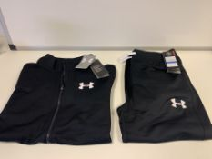 (NO VAT) 5 X BRAND NEW CHILDRENS UNDER ARMOUR FULL TRACKSUITS BLACK BOYS 15-16