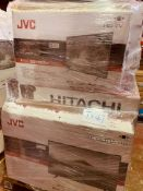 (TV47) PALLET TO CONTAIN 17 x VARIOUS RETURNED TVS TO INCLUDE JVC, HITATCHI . SIZES INCLUCE:
