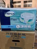 (Z4) PALLET TO CONTAIN 60 x NEW SEALED PACKS OF 30 TENA FLEX PLUS LARGE PADS. UNISEX. RRP £21.19 PER
