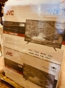 (TV28) PALLET TO CONTAIN 14x VARIOUS RETURNED TVS TO INCLUDE:JVC, TOSHIBA . SIZES INCLUCE: 43INCH