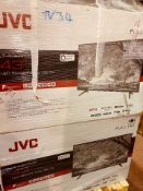 (TV34) PALLET TO CONTAIN 16 x VARIOUS RETURNED TVS TO INCLUDE JVC. SIZES INCLUCE:32INCH, 43INCH