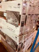 (TV50) PALLET TO CONTAIN 13 x VARIOUS RETURNED TVS TO INCLUDE JVC . SIZES INCLUCE: 43INCH. NOTE: