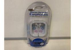 60 X BRAND NEW ENZO STEREO DYNAMIC EARPHONES INCLUDING 4 SOFT FEEL EAR CUSHIONS (396/23)