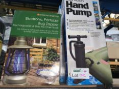2 X DUAL ACTION HAND PUMPS AND 1 X ELECTRONICAL PORTABLE BUG ZAPPER (172/23)