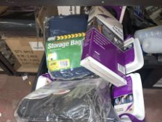 43 PIECE MIXED STORAGE LOT INCLUDING LITTER DISPENSERS, STORAGE BAGS, BACKSEAT ORGANISERS, ETC (
