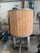 DC Norris stainless steel timber clad 900-litre vertical cylindrical insulated mash tun no. 507 (