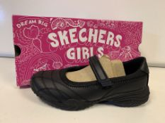 (NO VAT) 4 X BRAND NEW CHILDRENS SKETCHERS GIRLS BLACK SHOES SIZE 32
