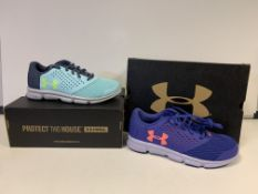 (NO VAT) 4 X BRAND NEW CHILDRENS UNDER ARMOUR TRAINERS IN VARIOUS STYLES AND SIZES