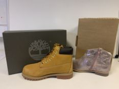 (NO VAT) 2 X BRAND NEW CHILDRENS TIMBERLAND MEDIUM W WHEAT BOOTS SIZE J6 AND 2 X KIDS DIVISION