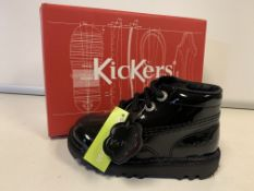 (NO VAT) 4 X BRAND NEW CHILDRENS KICKERS PATENT BLACK BOOTS SIZE I7