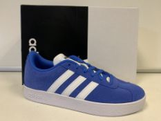 (NO VAT) 3 X BRAND NEW CHILDRENS ADIDAS VL COURT BLUE TRAINERS SIZE J3