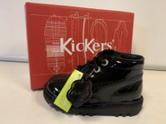 (NO VAT) 5 X BRAND NEW CHILDRENS KICKERS PATENT BLACK BOOTS SIZE I7