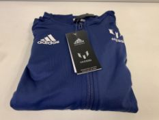 (NO VAT) 4 X BRAND NEW CHILDRENS ADIDAS BLUE MESSI HOODED TOPS AGE 5-6 YEARS