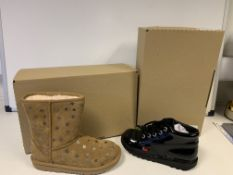 (NO VAT) 2 X BRAND NEW UGG BOOTS CHESTNUT AND 1 X BRAND NEW KICKERS BOOTS IN VARIOUS SIZES