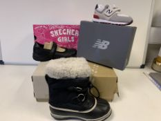 (NO VAT) 1 X SKETCHERS SHOES, 1 X NEW BALANCE TRAINERS, AND 1 X SOREL BOOTS IN VARIOUS SIZES