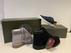 (N0 VAT) 4 X BRAND NEW PAIRS OF TIMBERLAND BOOTS/TRAINERS IN VARIOUS SIZES