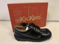 (NO VAT) 3 x NEW BOXED PAIRS OF KICKERS KICK LO J CORE BLACK. SIZE UK JUNIOR 2.