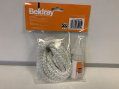 48 x NEW SEALED BELDRAY 9MM REPLACEMENT STOVE ROPE SET. EACH SET INCLUDES ROPE & ADHESIVE GLUE