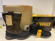 2 x NEW PAIRS OF WORK BOOTS TO INCLUDE 1 x DEWALT SIZE 8 SAFETY BOOTS & 1 x PAIR OF HYENA WORKWEAR