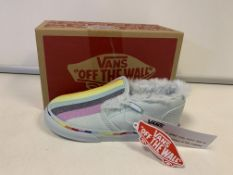 (NO VAT) 4 x NEW BOXED PAIRS OF VANS OFF THE WALL RAINBOW SHOES. SIZE INFANT 9.