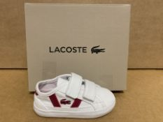 (NO VAT) 3 X BRAND NEW LACOSTE WHITE AND PINK TRAINERS SIZE i3 (135/23)